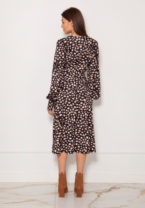 Dress with V-neck and spectacular sleeves SUK189 panther