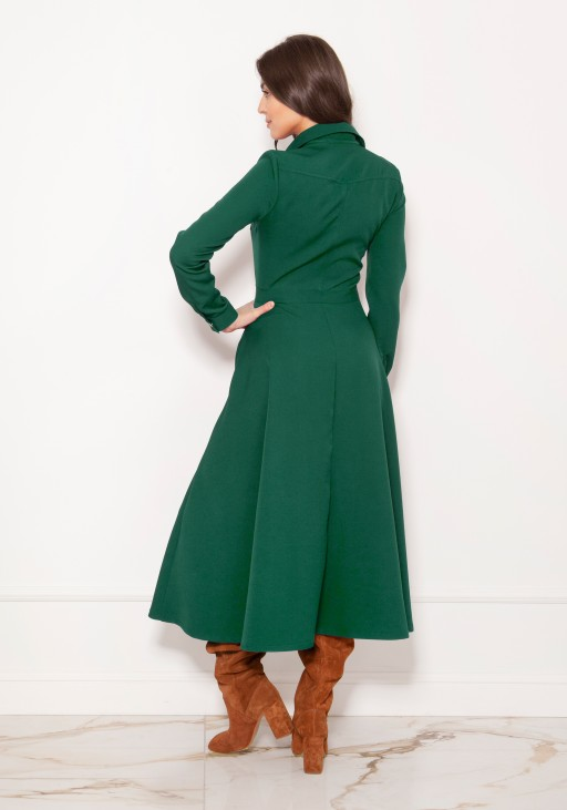 Long, shirt dress with studs SUK190 green