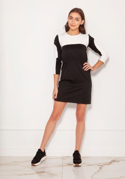 Sukienka mini w stylu lat 60. SUK192 ecru/czarna