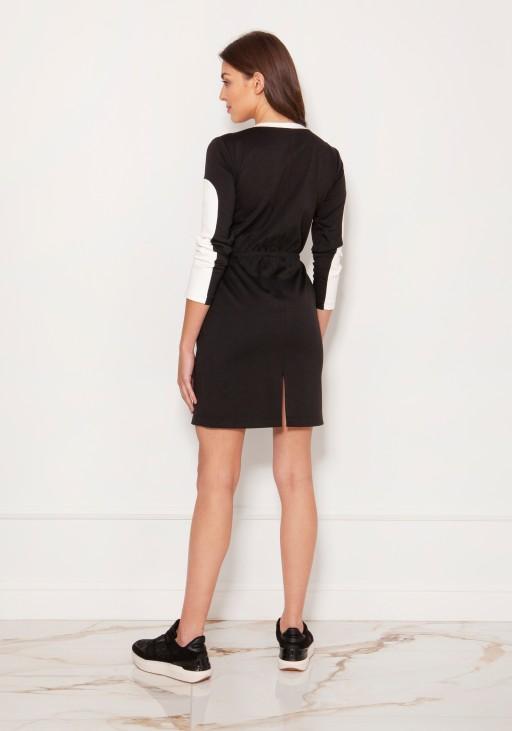 Biało-czarna sukienka mini w stylu lat 60. SUK192 czarno/ecru