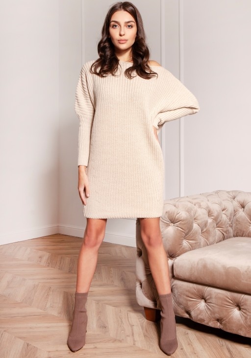 Oversized sweater - tunic SWE135 beige