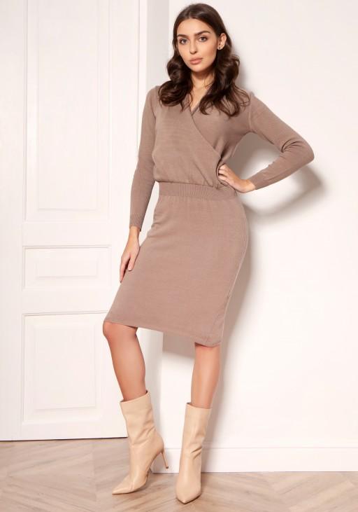 Sweater dress with an envelope neckline SWE136 beige