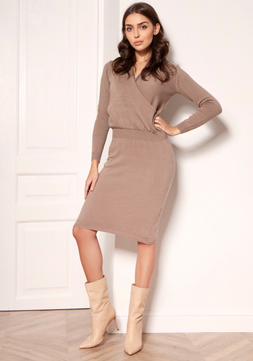 Sweater dress with an envelope neckline SWE136 mocca