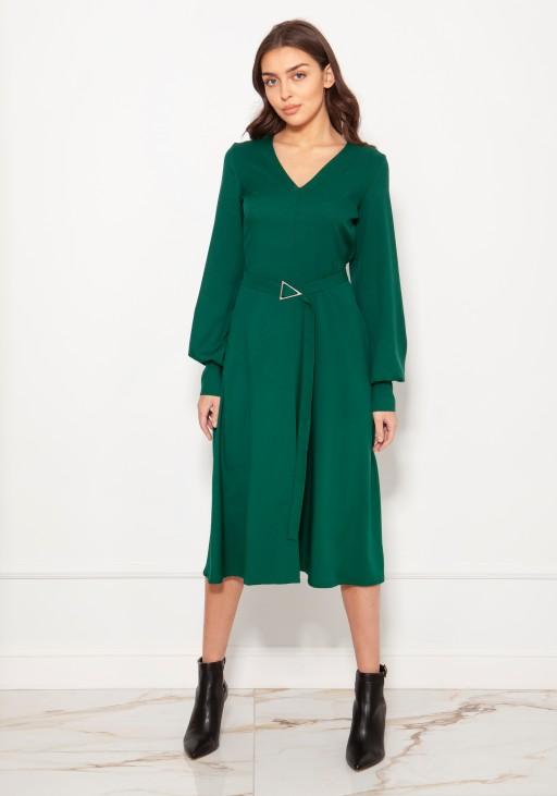 Sukienka z dekoltem V i efektownymi rękawami SUK189 zielona