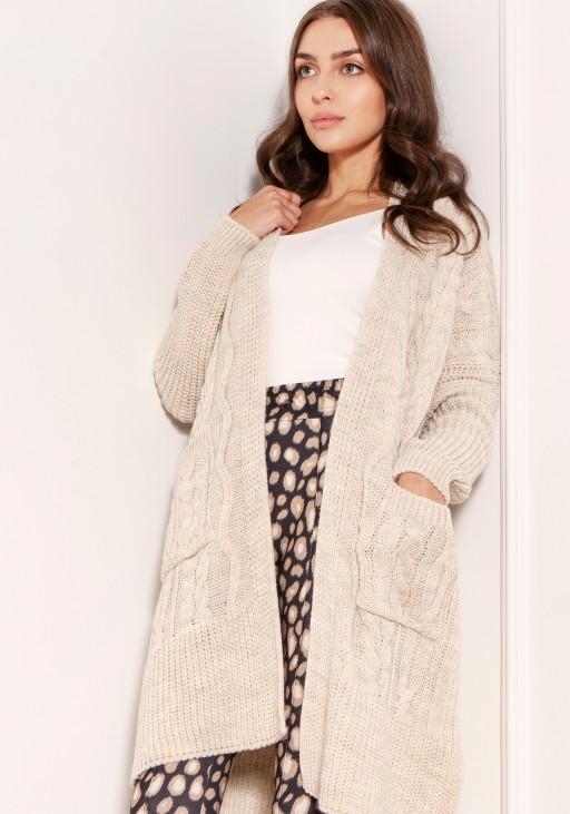 Swetrowy płaszcz z kieszeniami SWE139 beż