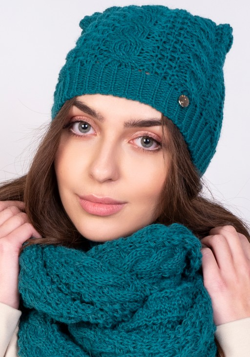 Stylish beanie - emerald green