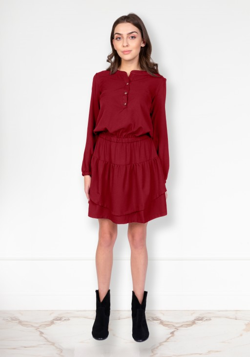 Frill dress, SUK175 burgundy