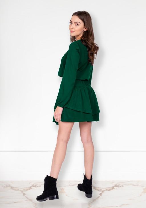 Sukienka z falbanką, SUK175 zielony