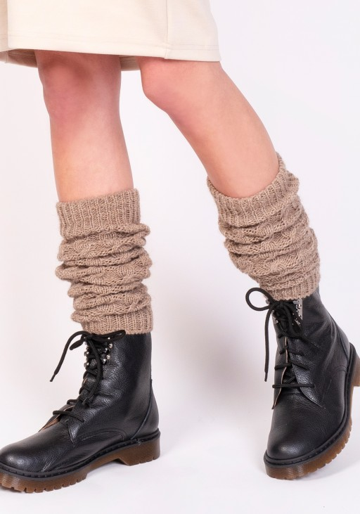 2 in 1 Braided gaiters or sleeves - mocca
