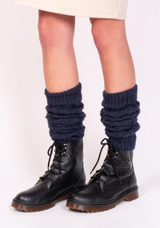 2 w 1 Getry lub rękawki w warkoczowy wzór - jeans