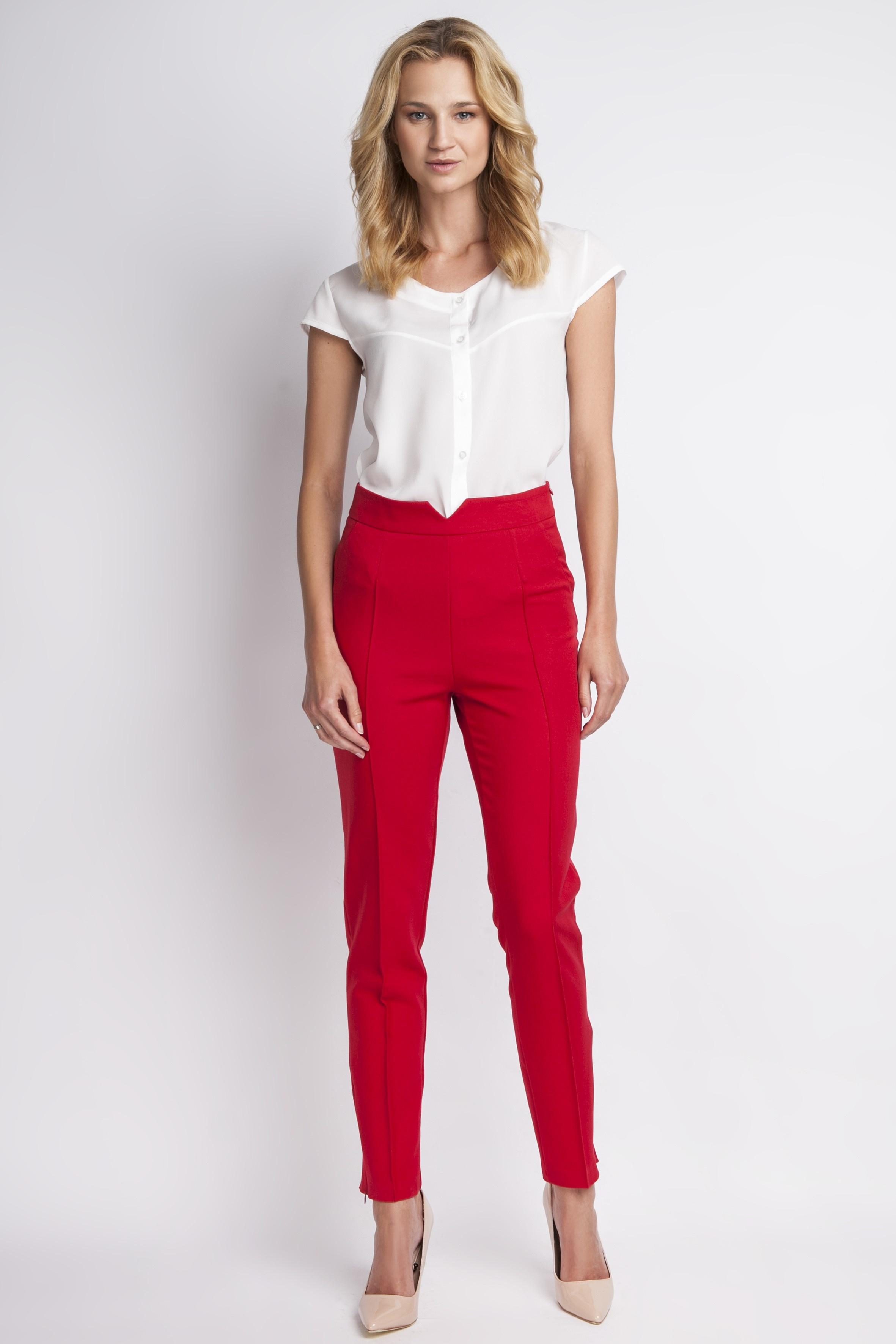 Spodnie z wysokim stanem, SD112 czerwony Lanti