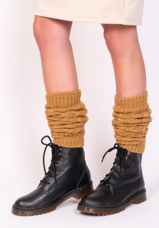 2 in 1 Braided gaiters or sleeves - mustard