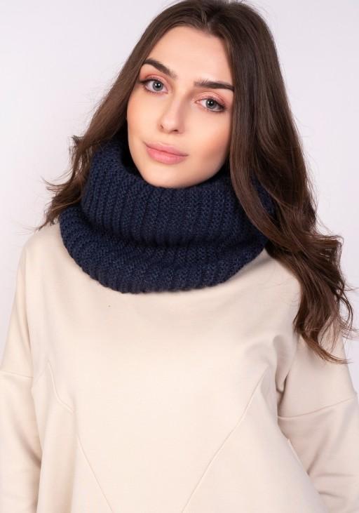 Warm tube scarf - navy blue