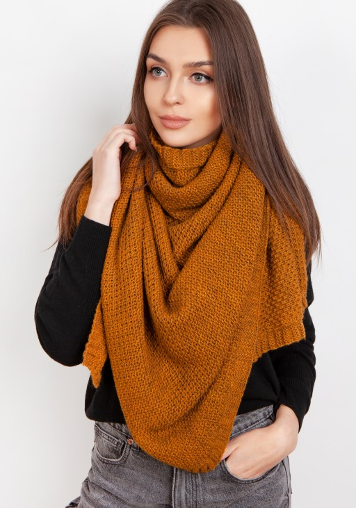 Impressive knitted scarf - mustard