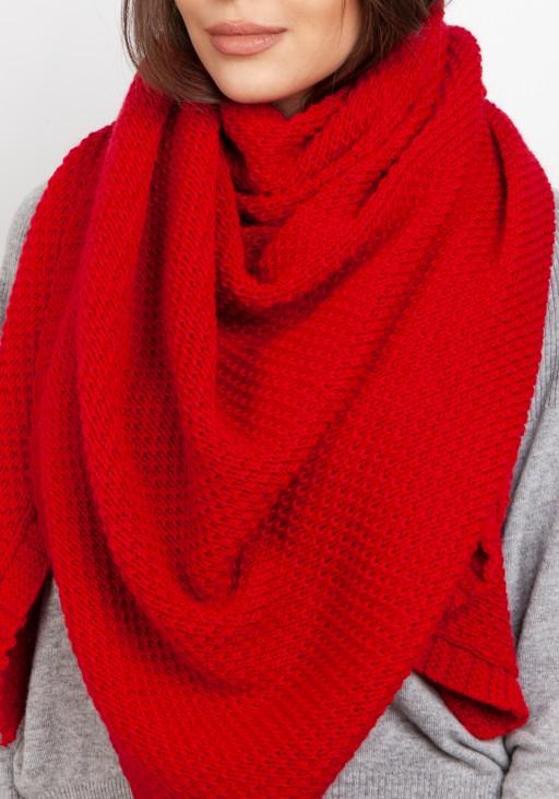 Efektowna dzianinowa chusta - czerwony SZ005