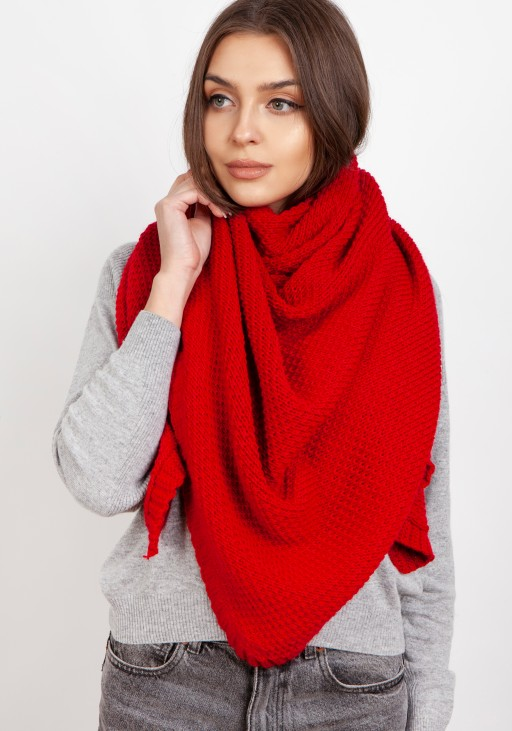 Impressive knitted scarf - red
