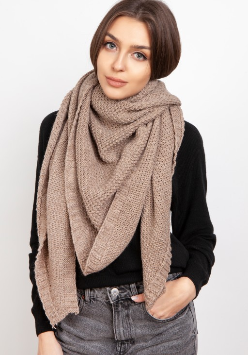 Impressive knitted scarf - mocca