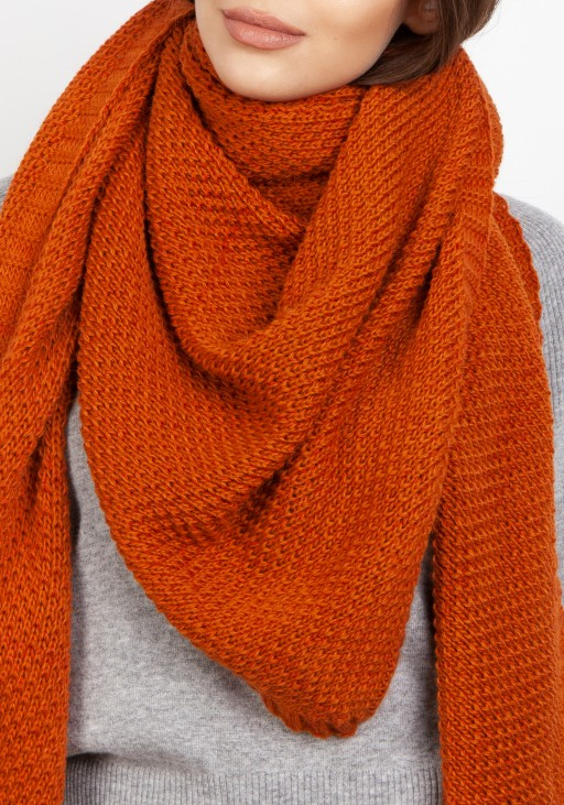 Impressive knitted scarf - orange