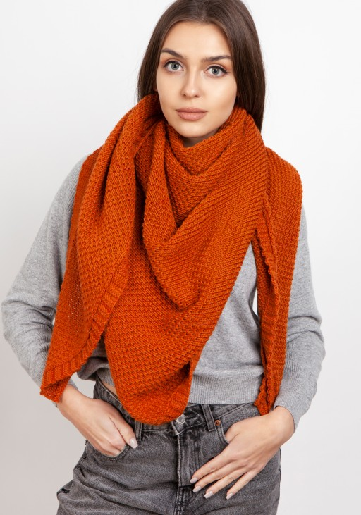 Impressive knitted scarf - orange