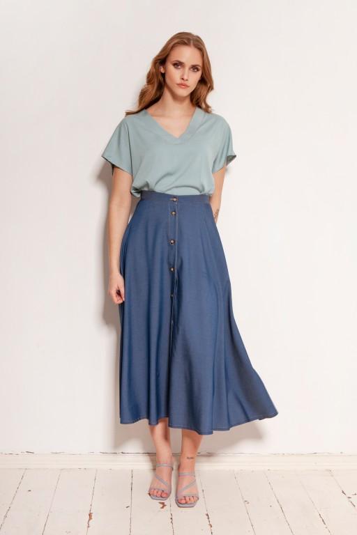 Button-down skirt, midi, SP131 jeans