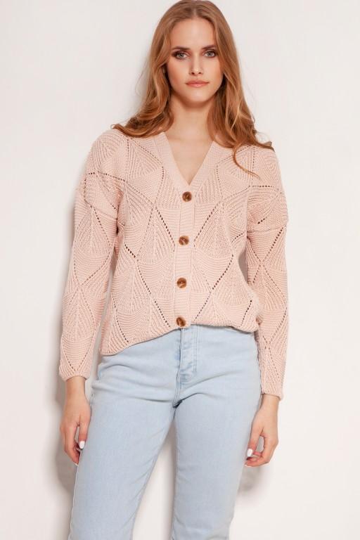 Ażurowy sweter na guziki, SWE143 róż