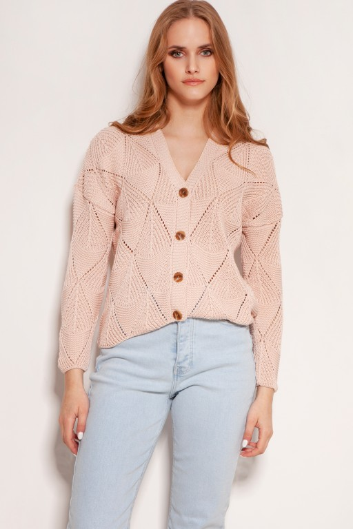 Openwork button-up sweater, SWE143 pink
