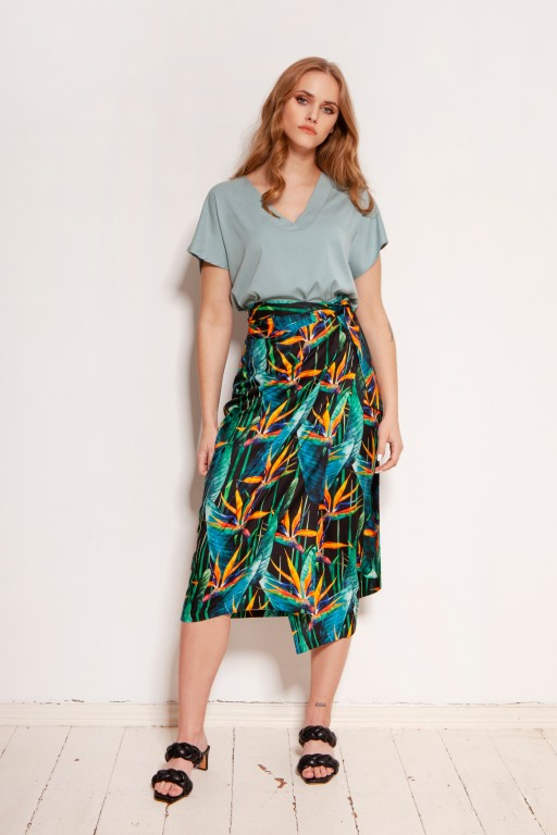 Pencil skirt tied with a sash, SP129 bambus