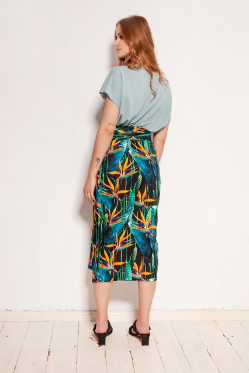 Ołówkowa spódnica za kolano, wiązana szarfą, SP129 bambus