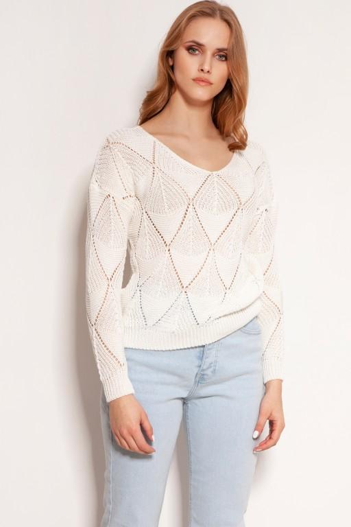 Ażurowy sweterek, SWE144 ecru