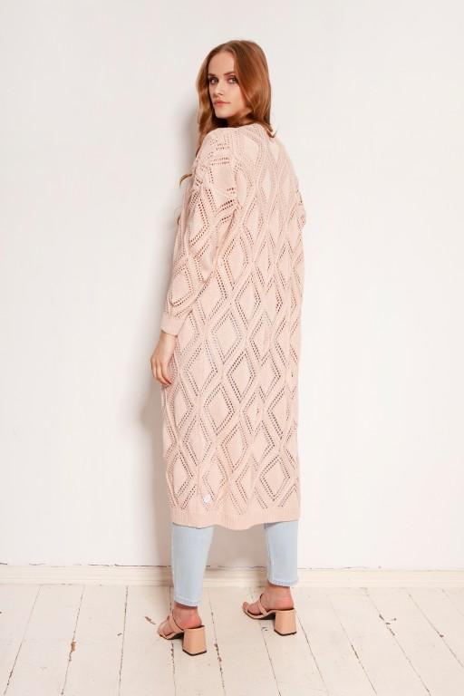 Długi ażurowy kardigan - płaszcz, SWE145 róż