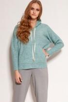 Mięciutka swetrowa bluza z kapturem, SWE140 miętowy