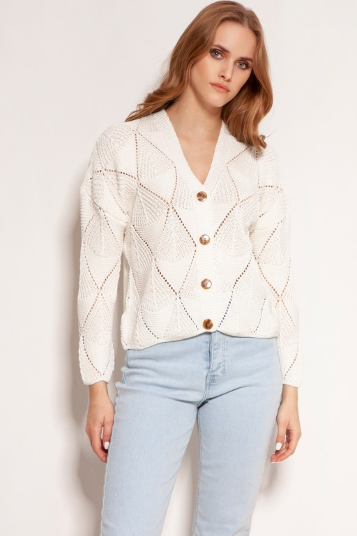 Openwork button-up sweater, SWE143 ecru
