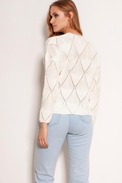 Ażurowy sweter na guziki, SWE143 ecru