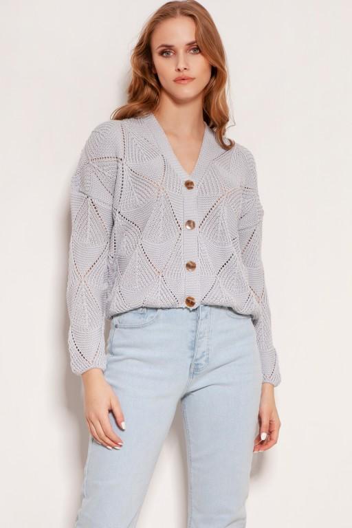 Ażurowy sweter na guziki, SWE143 szary