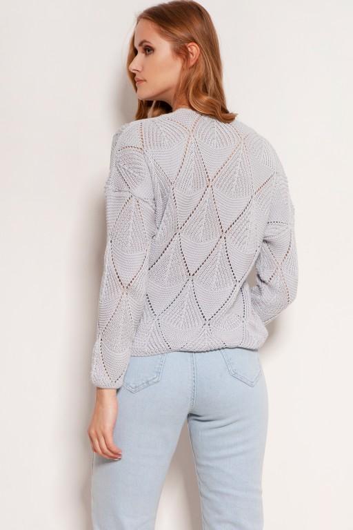 Openwork button-up sweater, SWE143 grey