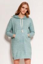 Dzianinowa sukienka - kangurka z kieszenią i kapturem, SWE141 miętowy