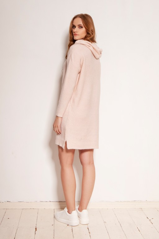 Knitted dress with pocket and hood, SWE141 pink