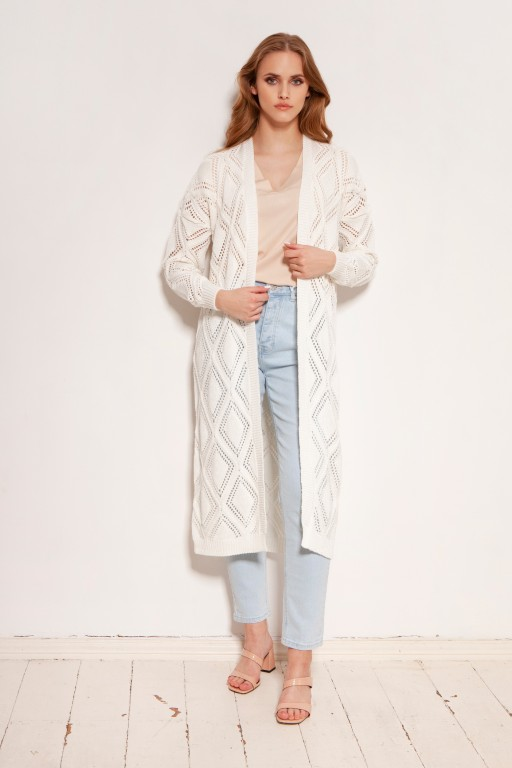 Long openwork cardigan - coat, SWE145 ecru