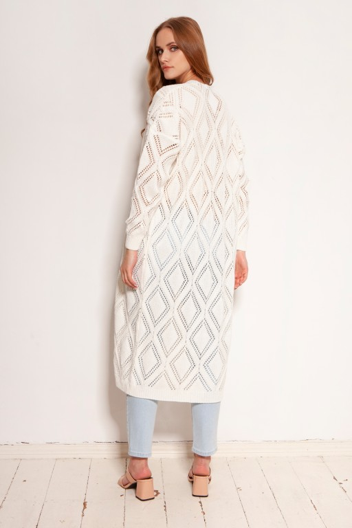 Długi ażurowy kardigan - płaszcz, SWE145 ecru