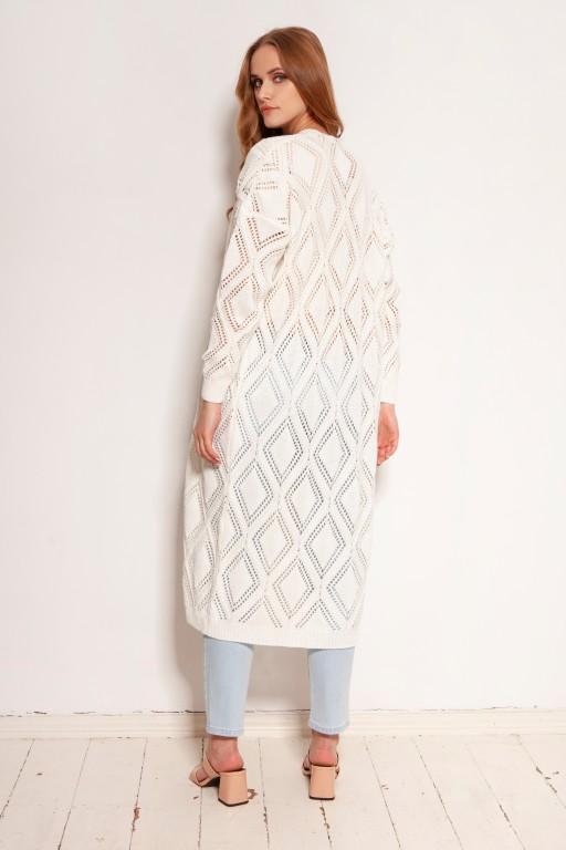 Long openwork cardigan - coat, SWE145 ecru