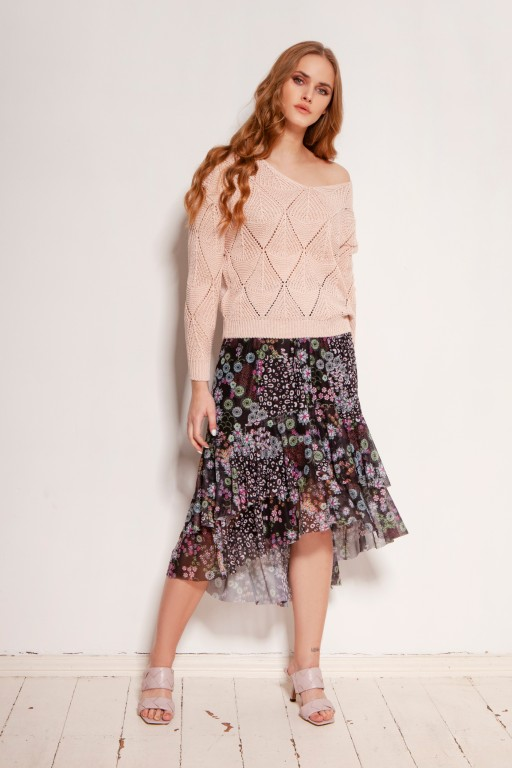 Mesh ruffle skirt, SP130 pattern