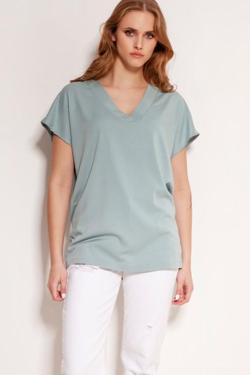 Viscose V-neck t-shirt, BLU151 miętowy