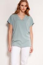 Wiskozowy t-shirt w serek, BLU151 miętowy