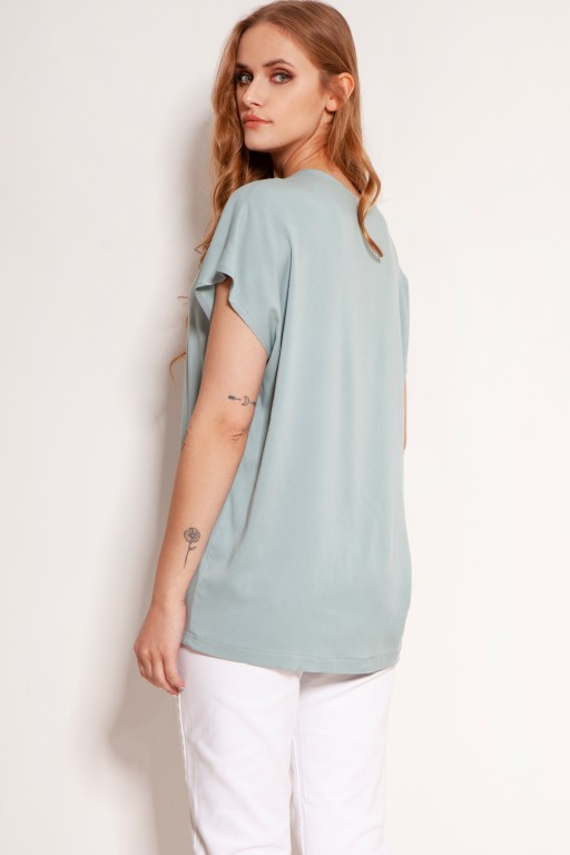 Viscose V-neck t-shirt, BLU151 mint