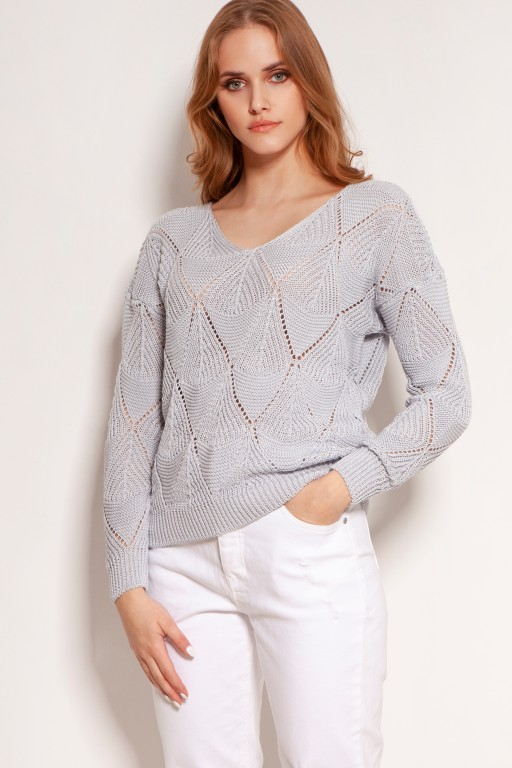 Ażurowy sweterek, SWE144 szary