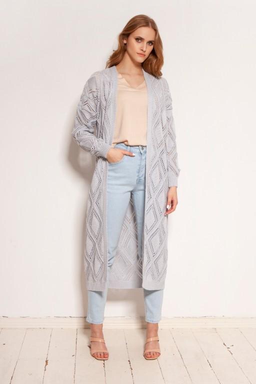 Long openwork cardigan - coat, SWE145 grey