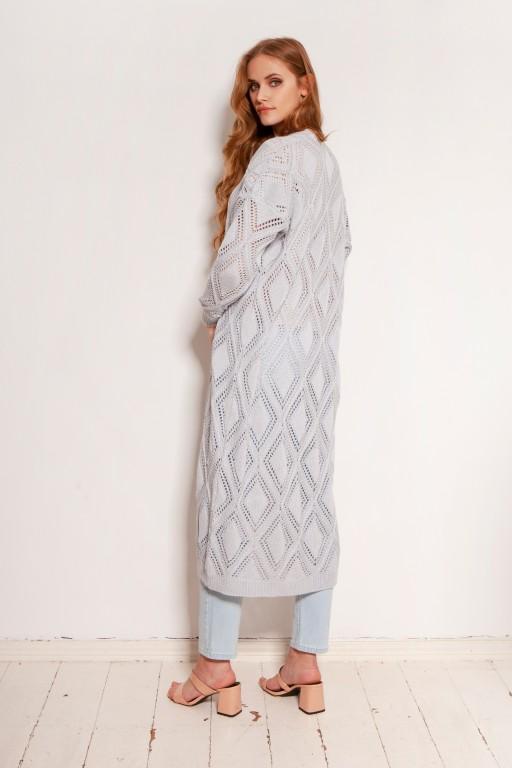 Długi ażurowy kardigan - płaszcz, SWE145 szary