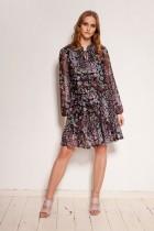 Wzorzysta sukienka z siateczki, z falbanami, SUK194 wzór