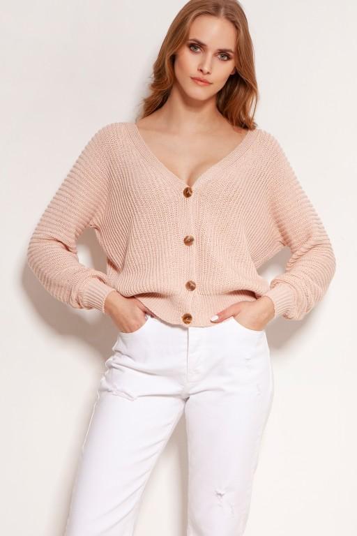 Bawełniany sweter w prążki, na guziki, SWE142 różowy