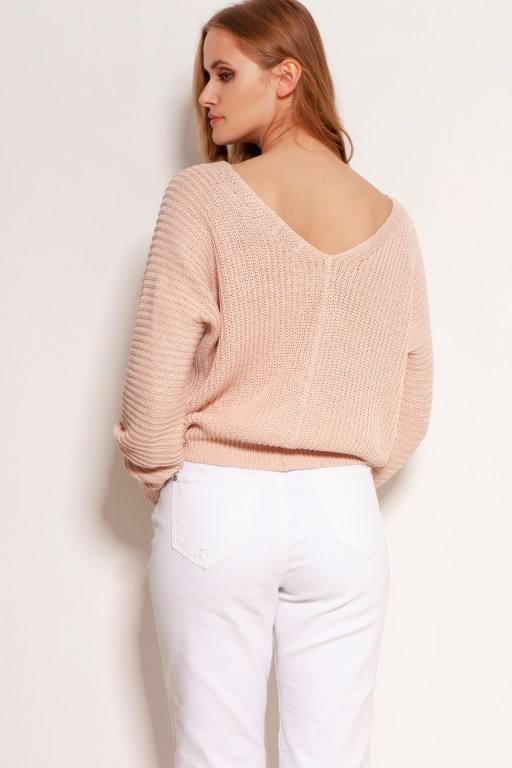 Cotton sweater with stripes and buttons, SWE142 pink